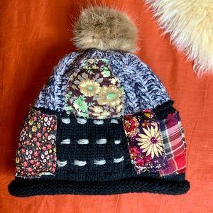 Boho patchwork fleece lined winter hat